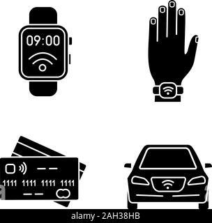 La technologie NFC glyphe icons set. Smartwatch en champ proche, bracelet, cartes de crédit, voiture. Symboles de Silhouette. Vector illustration isolé Banque D'Images