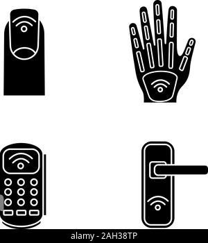 La technologie NFC glyphe icons set. Manucure en champ proche, la main de l'implantation, terminal de point de vente, l'ouverture de porte. Symboles de Silhouette. Vector illustration isolé Banque D'Images