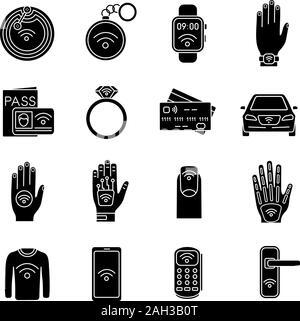 La technologie NFC glyphe icons set. La communication en champ proche. Tag RFID et NFC, autocollant, phone, bibelots, anneau, implant. La technologie sans contact. Silhouette Banque D'Images