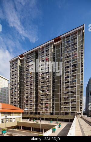 Architecture d'un édifice public HDB à Chinatown, Singapour Banque D'Images