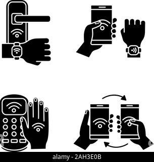 La technologie NFC glyphe icons set. Serrure de porte en champ proche, bracelet, terminal de paiement, le transfert de données. Symboles de Silhouette. Vector illustration isolé Banque D'Images
