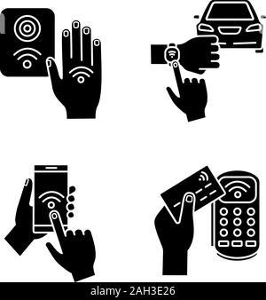 La technologie NFC glyphe icons set. Smartphone en champ proche et en voiture, terminal de paiement, bracelet, reader. Symboles de Silhouette. Vector illustration isolé Banque D'Images