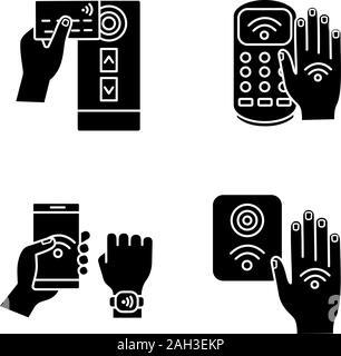 La technologie NFC glyphe icons set. Lecteur de carte de crédit en champ proche, la borne de paiement, bracelet, contrôle d'accès, part autocollant. Symboles de Silhouette. Vecteur est Banque D'Images