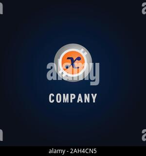 Lettre X 2002 Logo Design Template, Logo, Concept de Crypto-Curency Blanc, Gris, Orange, Ellipse, arrondies, de monnaie numérique, de l'argent virtuel, Ecurrency Banque D'Images