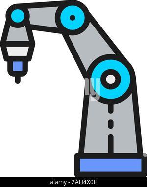 Bras robotisé pour imprimante couleur 3D télévision l'icône de la ligne. Banque D'Images