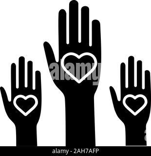 Expérience de bénévolat icône glyphe. Des bénévoles. Coup de main. Le vote. La charité. L'unité dans la diversité. Symbole de Silhouette. L'espace négatif. Vector isolated Banque D'Images