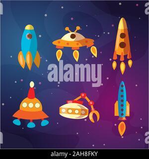 Cute cartoon space explorer, de l'astronomie sciences et UFO vector set. Rover lunaire, roquettes, moutons et de l'espace, navette aéroport, les étrangers. Équipements de l'espace, les fusées Banque D'Images