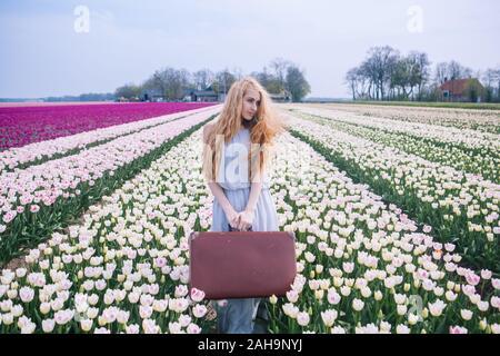 Belle jeune femme aux longs cheveux rouges portant en robe blanche debout avec assurance sur champ de tulipes colorées. Happy blonde girl holding old vintage su