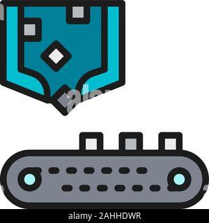 Robotic Arm tri avec convoyeur à courroie, la production de la métallurgie l'icône de la ligne de couleur. Banque D'Images