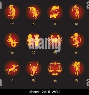 Série de 12 signes du zodiaque sur un fond noir. Image vectorielle Banque D'Images