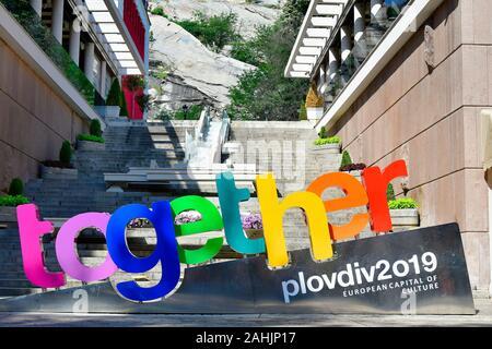 Plovdiv, Bulgarie - Juin 08, 2018: signe officiel - ensemble - pour devenir capitale européenne de la Culture 2019 Banque D'Images