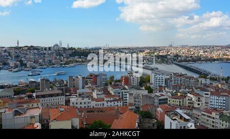 Vue d'Istanbul de la tour de Galata Beyoglu en regardant vers Fatih, avec le métro et les ponts d'Ataturk sur la droite, et Mosquée de Suleymaniye dans le dos
