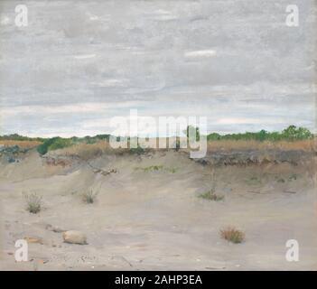William Merritt Chase. Wind-Swept Sands. 1894. United States. Huile sur toile, entre 1891 et 1902, William Merritt Chase était un enseignant très influents à l'Shinnecock École d'art d'été à Long Island, New York, où il peint de nombreux paysages des environs. Dans Wind-Swept Sands, Chase de pinceau rapide utilisé pour représenter les dunes et la végétation, mince pour lavages le ciel et d'un ton de gris pour indiquer l'image. La méthode d'enseignement de Chase est enracinée dans la pratique de la peinture impressionniste français à l'extérieur afin de profiter de la lumière naturelle et l'évolution des weathe