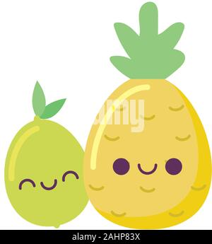 Lexpression Du Fruit Ananas Kawaii Cartoon Du Visage