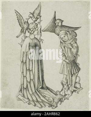 Maître E.S.. La lettre B, à partir de l'alphabet. 1466-1467. L'Allemagne. Gravure en noir sur papier vergé ivoire avant d'imprimer des photos à partir de plaques de cuivre gravées développé en tant que pratique, orfèvres et autres artisans métallurgistes ont été les seuls à utiliser des outils pointu à inciser conçoit en métal, décorant des armures, des bijoux et d'objets liturgiques. Les premiers modèles à être rempli avec de l'encre et enfoncé sur le papier est apparu dans la vallée du Rhin autour de 1430.connu seulement par le monogramme qui apparaît sur certains de ses dessins, l'orfèvre Maître E. S. est devenu l'un des graveurs les plus prolifiques en Allemagne. Ce Banque D'Images