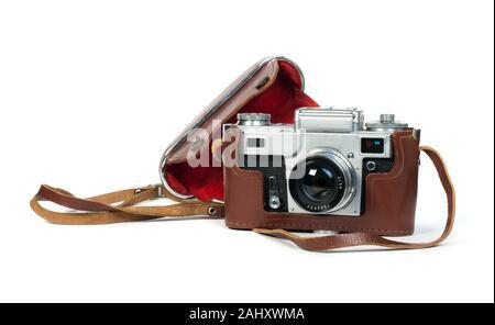 Old vintage blanc caméra isolée. Studio shot. Banque D'Images