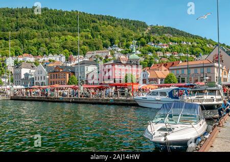 Marché de poisson au bord de l'avant de Bergen, Norvège Banque D'Images
