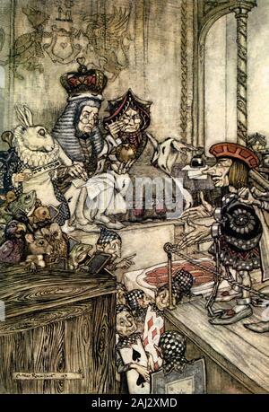 Alice dans l'art de l'illustration du pays merveilleux Banque D'Images