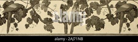 Textiles décoratifs; un livre illustré sur les meubles, les revêtements de murs et sols, y compris les damas, velours et brocarts, tapisseries, Dentelles, broderies, chintzes, cretons, de tentures et de meubles passementerie, papiers peints, moquettes et tapis, estampé et cuirs lumineux . IV-plaque le jardin chinois un paysage, faites de papier bloqué en Alsace vers 1840, après l'anglais artistsThe dessins par l'illustration montre deux largeurs des dix formant l'image complète 3G5. (1) l'Ara frieze conçu par le peintre français doués, J. FrancoisAubertin, l'élève préféré de Puvis de Chavan Banque D'Images
