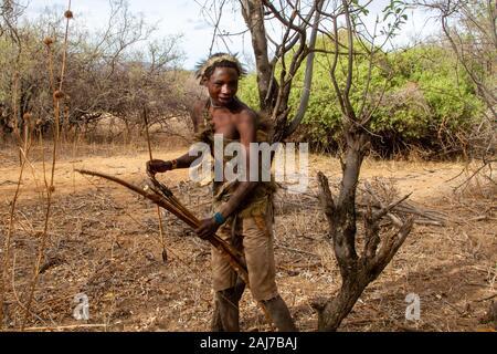 Les chasseurs avec des arcs et flèches de l'Hadzabe groupe ethnique dans le centre-nord de la Tanzanie Banque D'Images