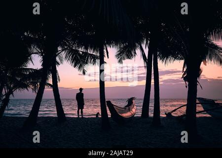 Silhouette de jeune homme au chien sous les palmiers. Traveler standing on beach et regarder la mer au lever du soleil coloré. Sri Lanka