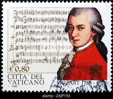 Portrait de Mozart sur le timbre de la Cité du Vatican Banque D'Images