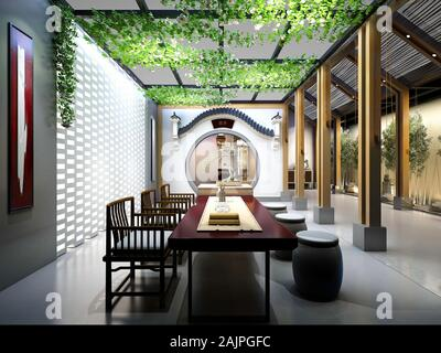 3D render of modern home intérieur salle de séjour