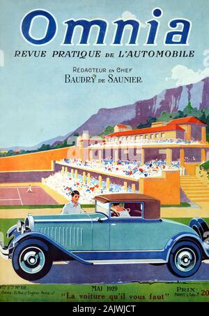 Vintage Car Citroën Type C4 (1928), coupé ou coupé à l'avant du Monte Carlo Country Club et de Tennis, fondée en 1928. Couverture du magazine automobile français début mai 1929 Omnia. Banque D'Images