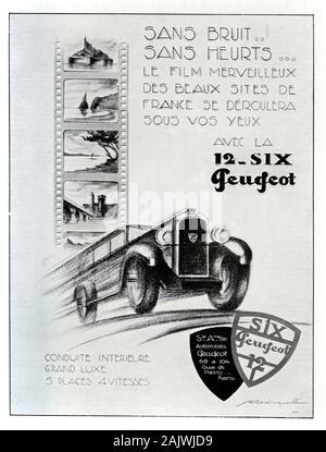 Publicité ancienne, Vintage annonce ou publicité pour les Français Type Peugeöt 18312 Six-voiture. Annonce 1929. Location disponible 1928-1932. Banque D'Images