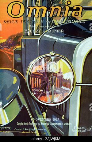 Détail de projecteur & Vintage Motor Car sur la couverture de magazine automobile français début novembre 1927 Omnia Banque D'Images