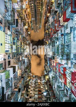 Hong Kong, Chine, vue de bâtiments d'habitation, l'un des pays les plus densément peuplés des villes. Banque D'Images
