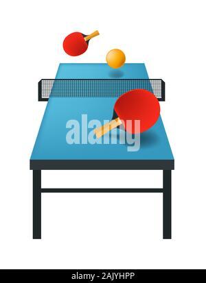 Ping-pong ou tennis de table icône isolée, équipement de jeu de sport Banque D'Images