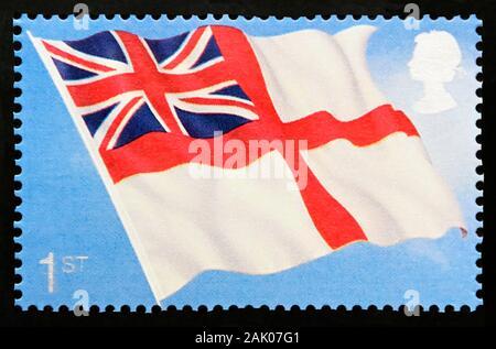Timbre-poste. La Grande-Bretagne. La reine Elizabeth II. Centenaire de la Marine royale Service de sous-marins. White Ensign. De première classe. L'année 2001.