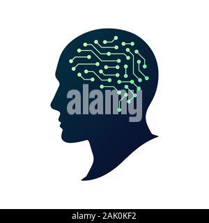 L'Intelligence Artificielle AI logo Vector. Cerveau humain artificiel. Tête humaine silhouette. Concept abstrait de cyber-technologie, apprentissage machine, un robot Banque D'Images