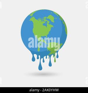 Le réchauffement climatique, l'illustration graphique d'une terre de fusion. Banque D'Images