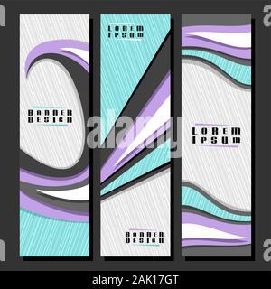 Vector set de bannières futuriste verticale, 3 modèles pour une petite annonce folioles avec motif abstrait géométrique et l'espace pour copier du texte publicitaire, conception broch Banque D'Images