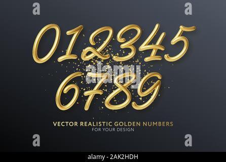 Numéros de lettrage 3D réaliste isolé sur fond noir. Nombre d'or. Éléments de décoration pour banner, couvrir, anniversaire ou fête d'anniversaire Banque D'Images