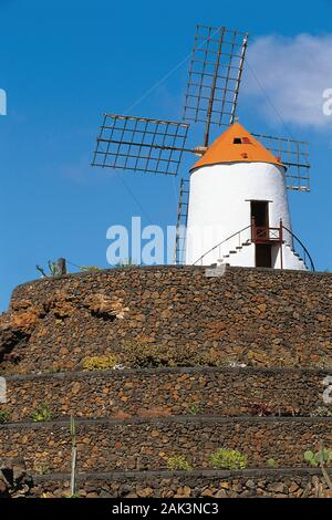 Un moulin à vent laqué blanc se dresse sur une petite colline dans le jardin de cactus près de San Juan sur l'île espagnole de Lanzarote. Le jardin de cactus est loca Banque D'Images