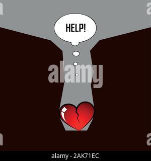 Cœur brisé à l'intérieur d'un canyon besoin d'aide pour les pictogrammes illustration vecteur EPS10