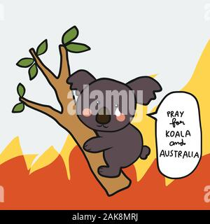 Priez pour le koala et l'Australie cartoon vector illustration Banque D'Images