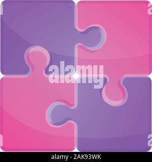 Puzzle violet icône. Caricature de puzzle violet icône vecteur pour la conception web isolé sur fond blanc Banque D'Images