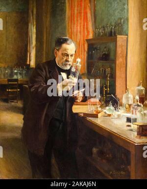 Louis Pasteur, dans son laboratoire, par Albert Edelfelt peinture portrait, 1885 Banque D'Images