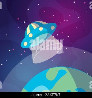 Cute cartoon illustration de UFO space ship l'atterrissage sur la terre ou planète Exo. Illustration de soucoupe volante sur fond de l'espace lointain. L'atterrissage sur un Banque D'Images
