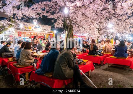 KYOTO, JAPON - 7 avril, 2017: Japon foule profiter du printemps les cerisiers en fleurs à Kyoto en participant au nuit saisonniers festivals Hanami dans parc Maruyama