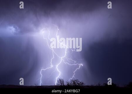 Un éclair lumineux éclaire une colonne de pluie qui tombe d'un orage près de Cordes Lakes, Arizona, USA. Banque D'Images