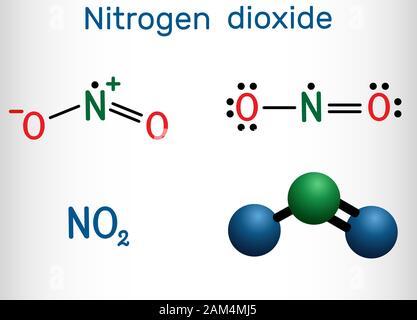 Le dioxyde d'azote, NO2 molécule. Formule chimique structurale et molécule modèle. Vector illustration Banque D'Images