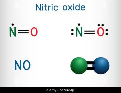 L'oxyde nitrique, le monoxyde d'azote, pas de molécule. Formule chimique structurale et molécule modèle. Vector illustration Banque D'Images