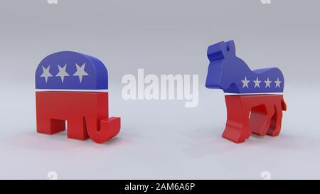 Symboles des partis politiques des États-Unis : démocrates et pépoblicains, rendu tridimensionnel