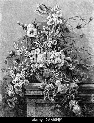 La vie toujours belle composition de fleurs d'été comme dans une peinture flamande Banque D'Images