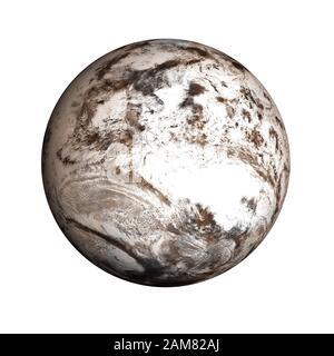 Planète Mars très détaillée sous la neige et la glace du système solaire isolé sur fond blanc. Des éléments de cette image ont été fournis par la NASA Banque D'Images